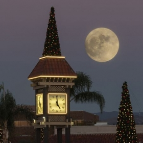 Enderle Center Clock Tower and the Super Moon
