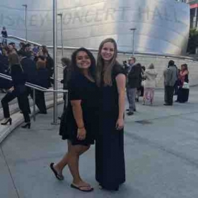 My best friend and I after my youth orchestra performed at Walt Disney Concert Hall!