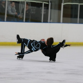 Skating to music from Tron Legacy at the 2017 Eastern Sectional Championships competing in Senior Dance.