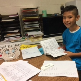 Grade 6 student, Michael, reading for this first time this year 2016 - with ease, confidence, and delight.