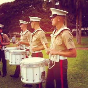 Just got finished warming up and get ready to step off on parade in Waikiki!