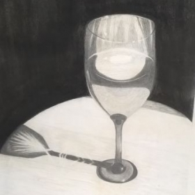Wine glass in morning light Charcoal & Graphite