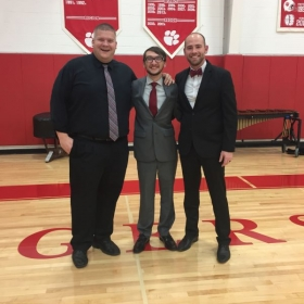 Myself with the directors at Beechwood high school after conducting the percussion ensemble for their 2016 winter concert.