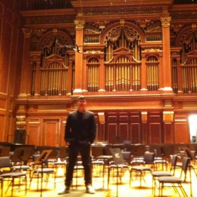 Before a performance with the Berklee Contemporary Symphony Orchestra at the historic Jordan Hall in Boston, MA