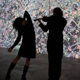 Performing at the Museum of Contemporary Art San Diego with projections by Jennifer Steinkamp.