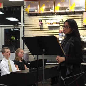 Ms Melody singing America the Beautiful  Accompanied by two of her students, siblings-duet in piano.  Virginia 2016
