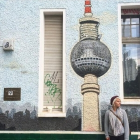 Enjoying the Berlin street art.