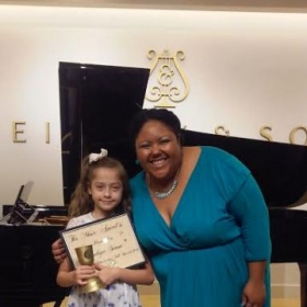 Penelope and I at Steinway!