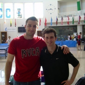 Table Tennis Cred!  Me at regionals in College with USA Olympic team member Mark Hazinski