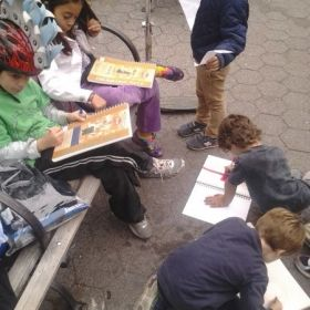 Cityscape drawing class for elementary aged children