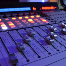 Mackie MCU pro motorized fader control for mixing in the studio.