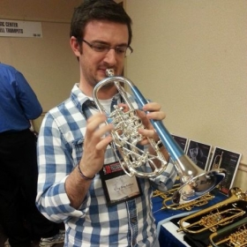 Playing a rotary trumpet at an International Trumpet Guild conference. I've always loved the sound of these instruments!