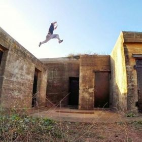 16 foot gap jump at the San Francisco Bunkers.