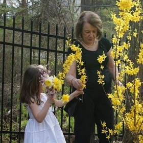 My sweet granddaughter and I are making forsythia bouquets for the home at Easter.