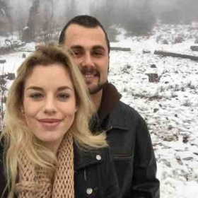 My girlfriend, Kaylee, and I playing in the snow in Julian.