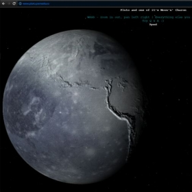 VR site with Pluto and one ofit's moon's Charon. Built using a webGL graphics library Three.js:  pluto.pixmedia.io