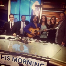Performing on local news station.