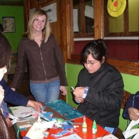 Leading an art class in English in Chile