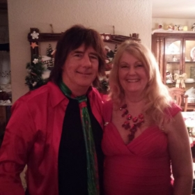 My wife & I at a Christmas party.
