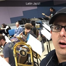CSUF Latin Ensemble rehearsal, just having some fun with snap chat.