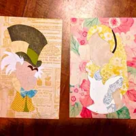 Layered paper wonderland characters