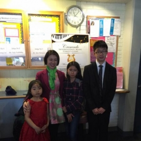 "Three ""First Place"" winners in Little Mozarts Piano Competition of 2017."