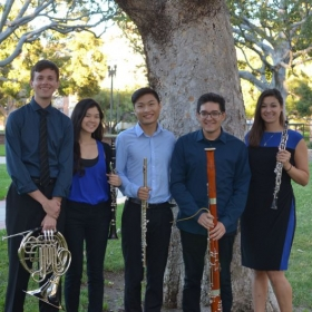 Andy with the UCLA Gluck Woodwind Quintet. The quintet performs outreach concerts throughout the Los Angeles area.