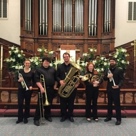 Group picture of the Muncie Symphony Orchestra Quintet at an Easter gig back in 2015.