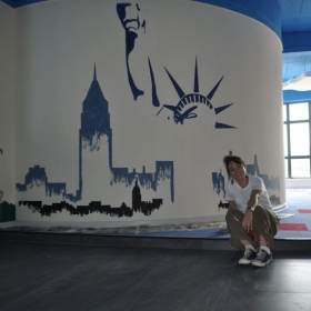 This is a mural I painted of the Statue of Liberty, in China