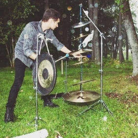 """Performing John Luther Adams's amazing piece """"Inuksuit"""" for 9-99 outdoor drummer/percussionists"""