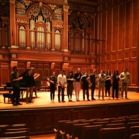"Jordan Hall, premiere of my work ""Two Flies"", (2015)."