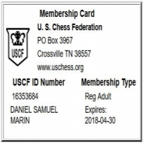 This is my registration to the US Chess Federation