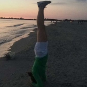 Headstand on the beach!