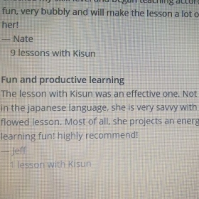 Kind reviews from my lovely students for my lessons. ^^