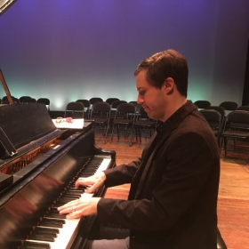 This is me warming up before the recital where I accompanied my college students.