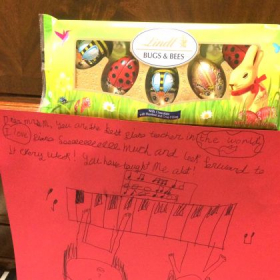 """My student's note reads: """"Dear Mrs. M, You are the best piano teacher in the world..."""""""