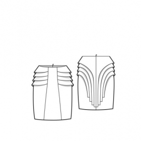 Layer Pencil skirt- Illustration Flat sketch