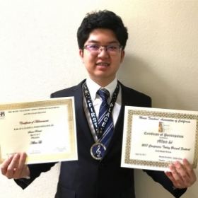 Allan Li won the First Place at 2017 Composers Today and Senior  Recital Certificate of MTACSC.