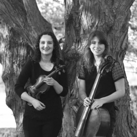 Co-Founders of Cleveland Harare Music Exchange. Sylvia Wehrs, violin; Ellie Glorioso, cello.