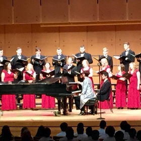 Singing at an ISU choral concert with the Madrigals.