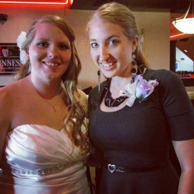 With the bride after singing at her wedding!
