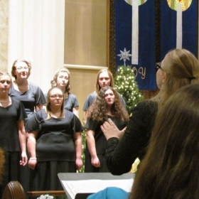 Conducting a high school choir for their holiday concert after student teaching with them for 9 weeks!