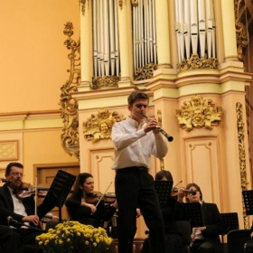 Performing an oboe concerto with the Lviv Philharmonic Orchestra