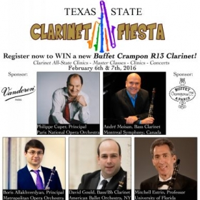 Created advertisement for the guest performances of several guest clarinet artists for the 2016 Clarinet Fiesta!  clarinetfiesta.com