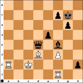 Taken from my game with NM Frederick Kagan, who had the White pieces. Black is up in material, but can he end the game decisively?