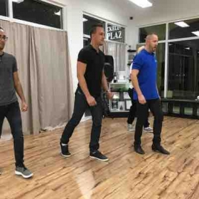 Teaching guys footwork for Salsa