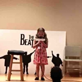 "One of my sweet 6 year old students introducing her song ""Strawberry Fields Forever"" at the Beatles recital. #valeriebaileymusic"