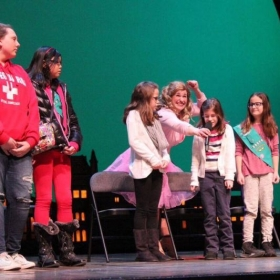 Wicked Workshop interacting with kids on the Broadway stage