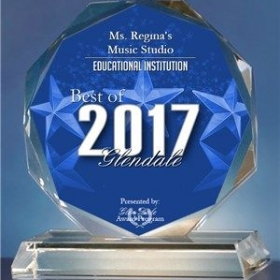 Ms. Regina's Music Studio has been named as the Best Educational Institution of 2017 in Glendale.