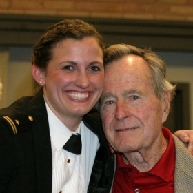 Sang and soloed, played piano for President Bush Senior as part of the Naval Academy Women's Glee Club.